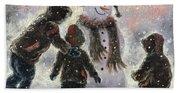 Snowman And Three Boys Bath Towel
