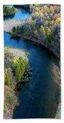 Springtime On The Manistee River Aerial Bath Towel
