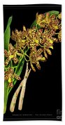 Vintage Orchid Print On Black Paperboard Bath Towel