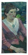 Woman In Front Of A Still Life By Cezanne Bath Towel