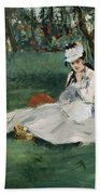 The Monet Family In Their Garden At Argenteuil  Bath Towel