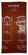 1876 Brewing Cooler - Dark Red Blueprint Bath Towel