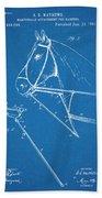 1891 Horse Harness Attachment Patent Print Blueprint Bath Towel