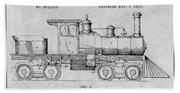 1891 Huber Locomotive Engine Gray Patent Print Bath Towel