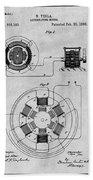 1896 Tesla Alternating Motor Gray Patent Print Bath Towel