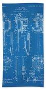 1904 Wagner Tattoo Machine Blueprint Patent Print Bath Towel