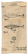 1909 Lockhart Antique Fishing Lure Antique Paper Patent Print Bath Towel
