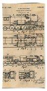 1925 Turbine Driven Locomotive Antique Paper Patent Print  Bath Towel