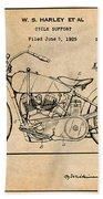 1928 Harley Davidson Motorcycle Antique Paper Patent Print Bath Towel