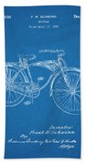 1939 Schwinn Bicycle Blueprint Patent Print Bath Towel