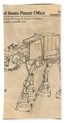 1982 Star Wars At-at Imperial Walker Antique Paper Patent Print Bath Towel