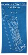 1988 Motorola Cell Phone Blueprint Patent Print Bath Towel