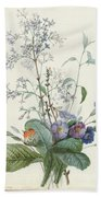 A Bouquet Of Flowers With Insects  Bath Towel