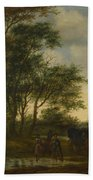 A Landscape With A Carriage And Horsemen At A Pool  Bath Towel