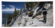 Cyclist On Mountain Road, Lake Tahoe Hand Towel