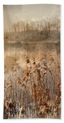 Digital Watercolor Painting Of Landscape Of Lake In Mist With Su Bath Towel