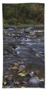 Long Exposure Photographs Of Rolling River With Fall Foliage Bath Towel