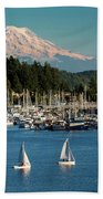 Sailboats At Gig Harbor Marina With Mount Rainier In The Background Bath Towel
