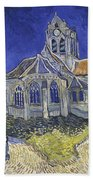 The Church In Auvers Sur Oise  View From The Chevet  Bath Towel