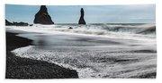 The Dramatic Black Sand Beach Of Reynisfjara. Bath Towel