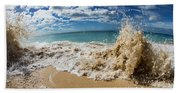 View Of Surf On The Beach, Hawaii, Usa Bath Towel