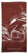 2018 Kawasaki Versys 1000 Lt Abs Blueprint Old Vintage Red Background Original Artwork Bath Towel