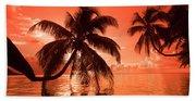 Palm Trees At Sunset, Moorea, Tahiti Hand Towel
