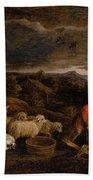 Shepherds And Sheep  Bath Towel