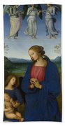 The Virgin And Child With An Angel  Bath Towel