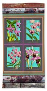 Antique Orchids Quatro On Rusted Metal And Weathered Wood Plank Bath Towel