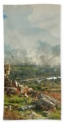 Digital Watercolor Painting Of Stunning Autumn Sunset Landscape  Hand Towel
