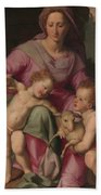Madonna And Child With The Infant Saint John The Baptist Hand Towel