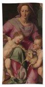 Madonna And Child With The Infant Saint John The Baptist Bath Towel