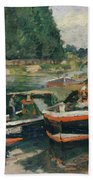 Barges At Pontoise  Bath Towel