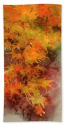 Digital Watercolor Painting Of Beautiful Colorful Vibrant Red An Bath Towel