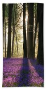 Stunning Bluebell Forest Landscape Image In Soft Sunlight In Spr Bath Towel