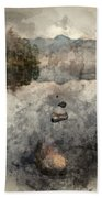 Digital Watercolor Painting Of Beautiful Autumn Fall Colorful Su Hand Towel