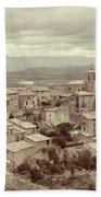 Beautiful Medieval Spanish Village In Sepia Tone Bath Towel