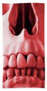A Close Up Of A Human Skull In Red Bath Towel