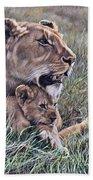 A Quiet Moment Lioness And Lion Cubs Bath Towel by Alan M Hunt