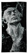 A Stone Bust In The Forest Hand Towel
