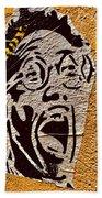 A Terrified Face On A Barcelona Wall  Bath Towel