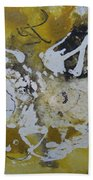 Abstract Cat Face Yellows And Browns Bath Towel by AJ Brown