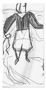 After Billy Childish Pencil Drawing B2-9 Bath Towel