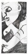 After Mikhail Larionov Pencil Drawing 4 Bath Towel