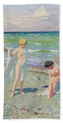 After The Swim  Oil On Canvas Bath Towel