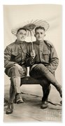 American Soldiers With A Parasol Circa 1915 Bath Towel