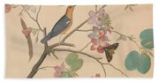 An Orange Headed Ground Thrush And A Moth On A Purple Ebony Orchid Branch, 1778 Hand Towel