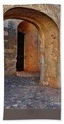 Arches Of A Medieval Castle Entrance In Algarve Bath Towel