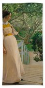 At The French Windows. The Artist's Wife Bath Towel